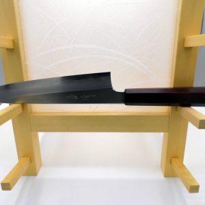 coltello da cucina giapponese gyuto in acciaio gingami#3 con manico in legno laccato rosso