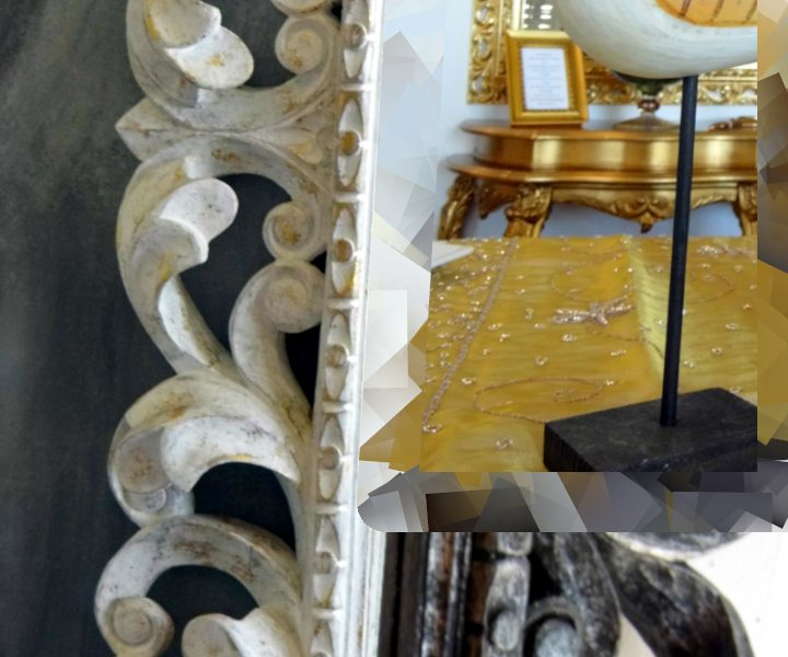 particolare lavorazione di legno intagliato su cornici artigianali presso Farinella arte e cornici showroom di Vaccolino (Ferrara)